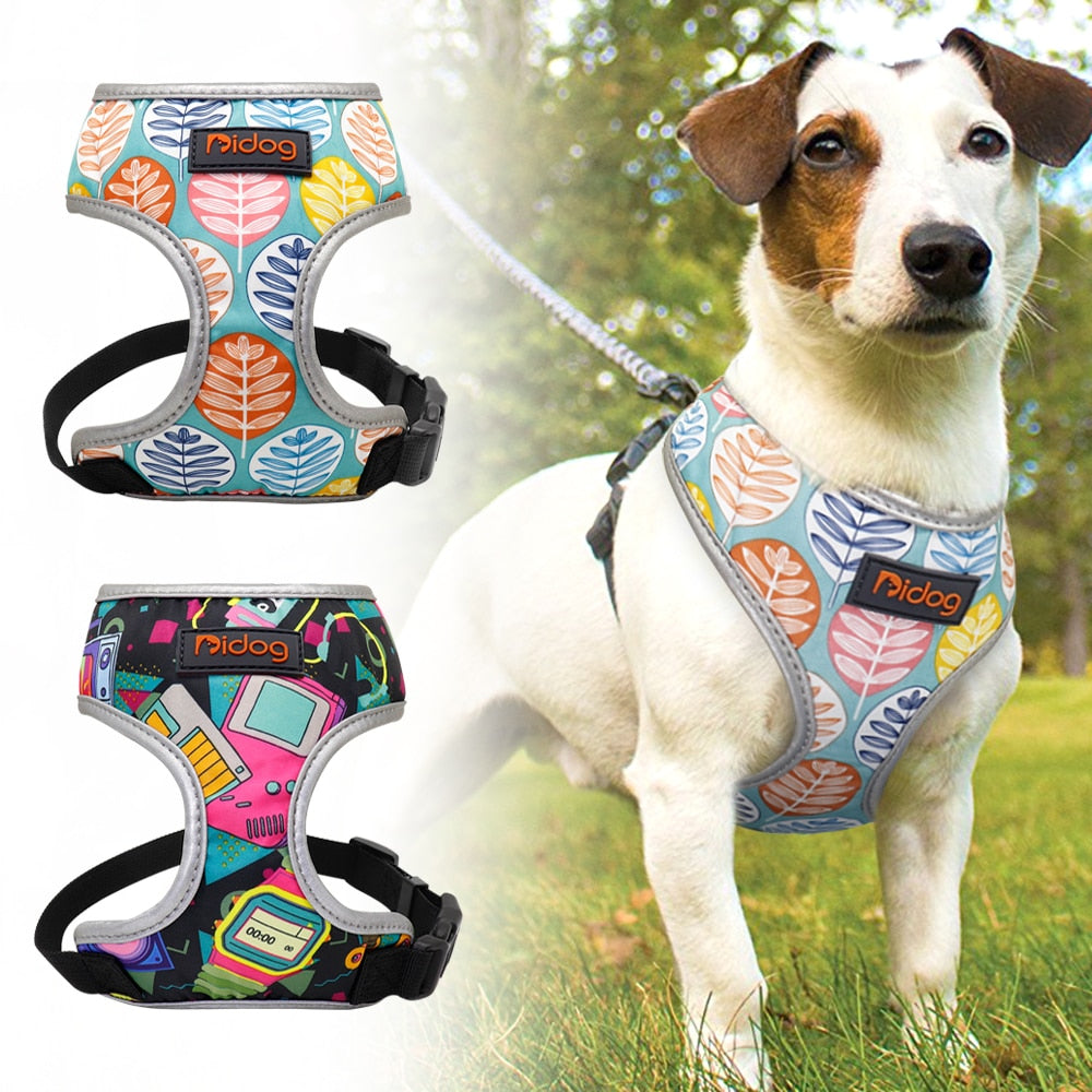 Breathable Nylon Dog Reflective Printed Harness
