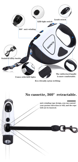 Dog leash with LED flashlight