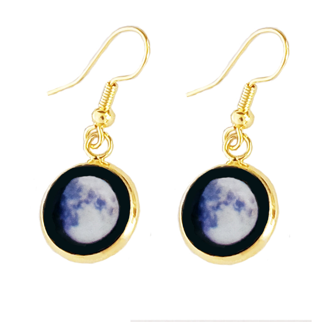 Glowing Moon Phase Earrings in Gold Plating