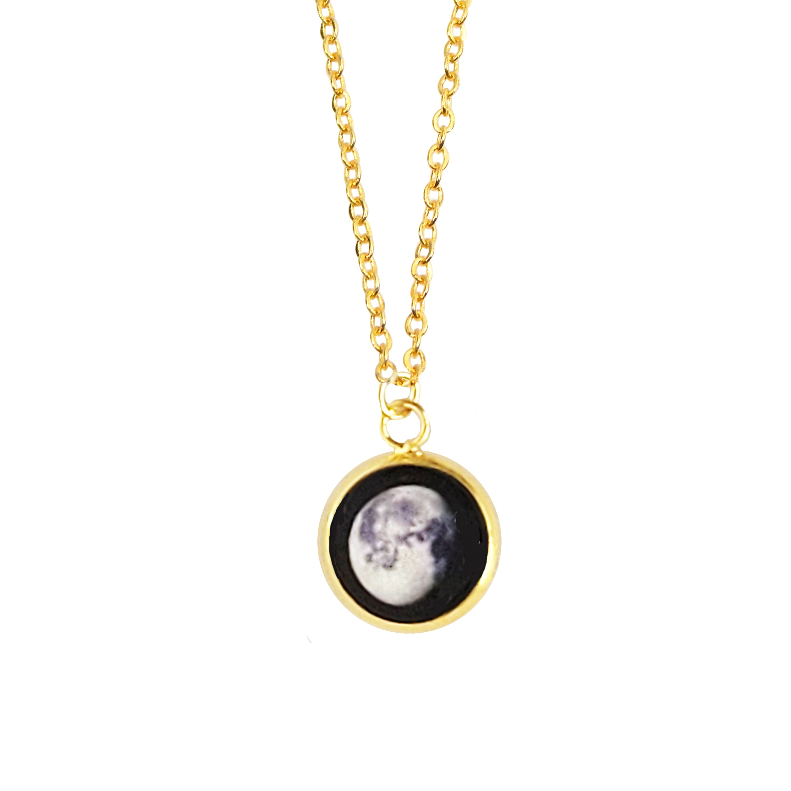 Glowing Moon Phase Necklace in Gold Plating