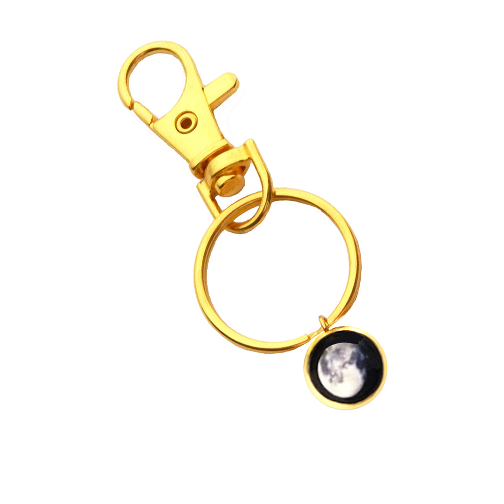 Glowing Moon Phase Keychain in Gold Plating