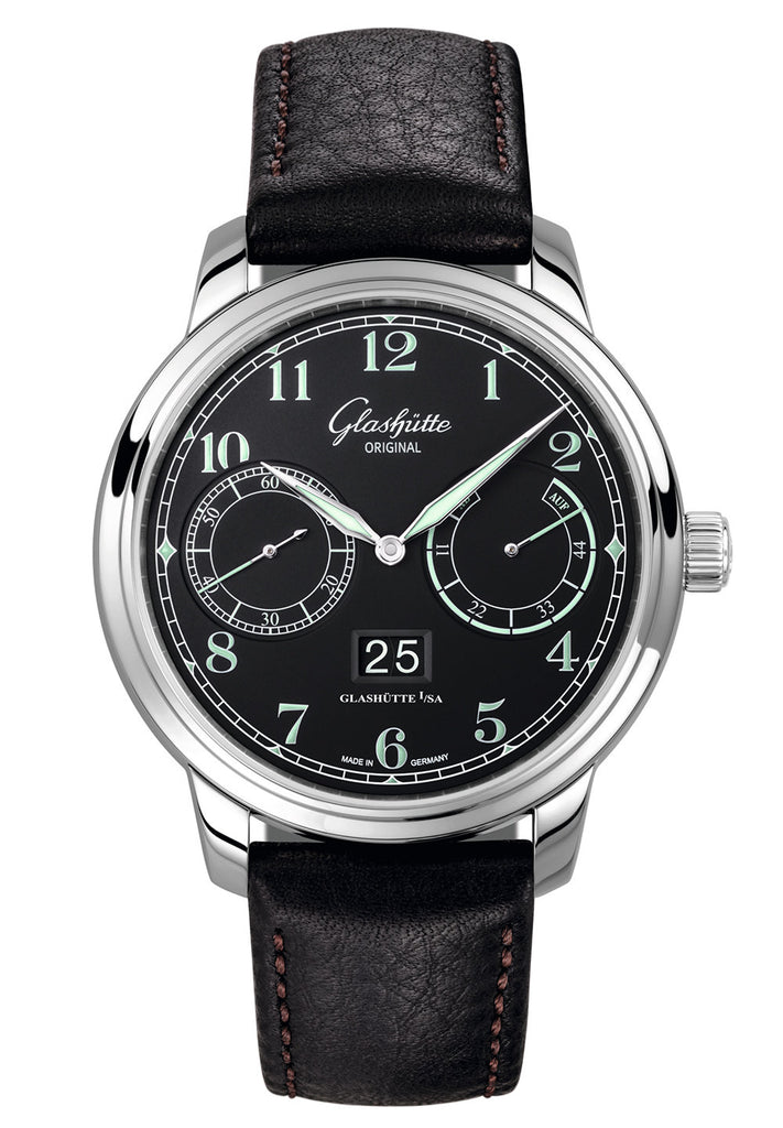 Glashütte Original Senator Observer - Stainless Steel on Black Calf Strap  Glashütte Original
