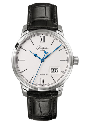 Glashütte Senator Excellence Panorama Date - Stainless Steel on Black Alligator Strap  Glashütte