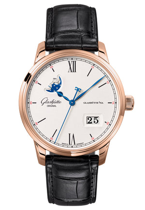 Glashütte Senator Excellence Panorama Date Moon Phase - 18 Carat Red Gold on Black Alligator Strap  Glashütte