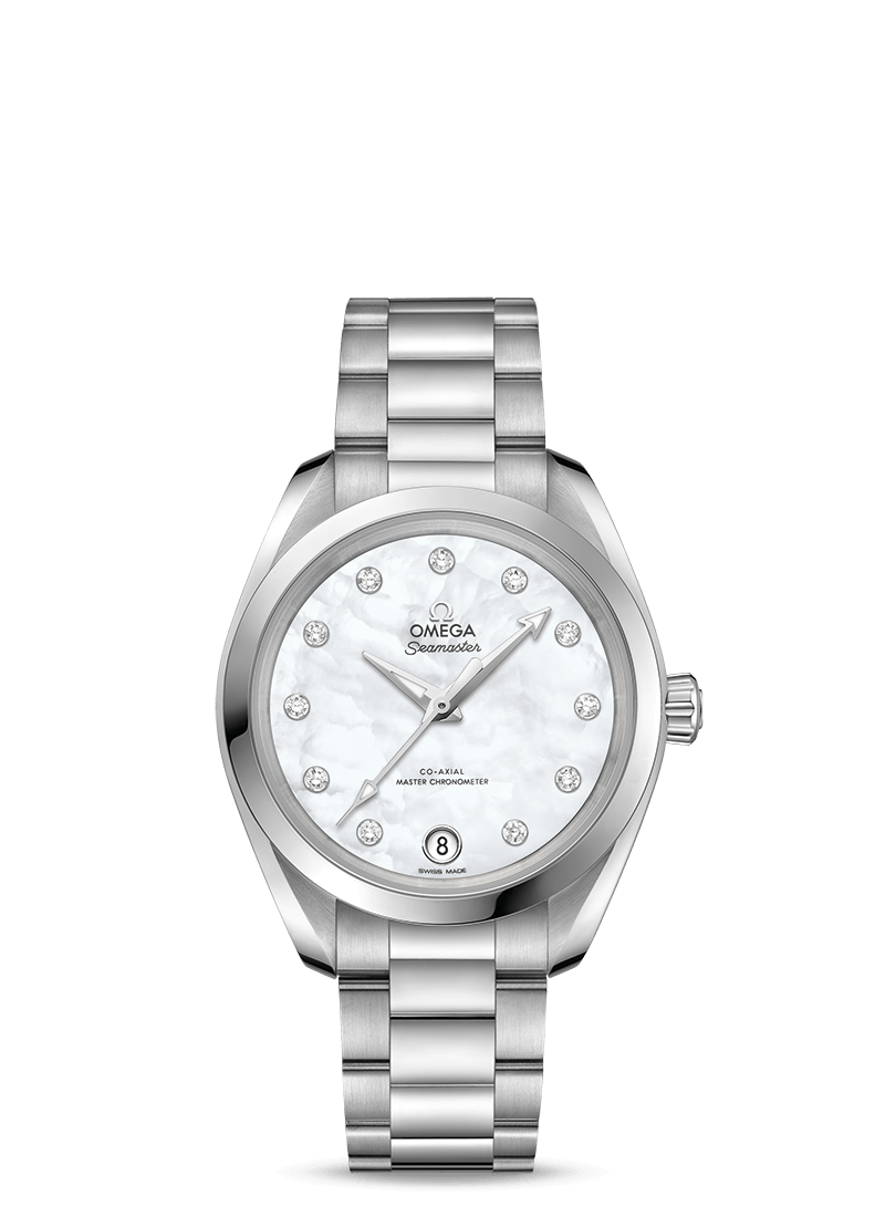 OMEGA SEAMASTER AQUA TERRA 150M OMEGA CO‑AXIAL MASTER CHRONOMETER 34 MM 220.10.34.20.55.001 ADD TO WISH LIST Steel on steel  220.10.34.20.55.001  Reveal the price CONTACT A BOUTIQUE ABOUT THIS PIECE   SEE VARIATIONS OF THIS WATCH (31) - Steel on Steel  Omega