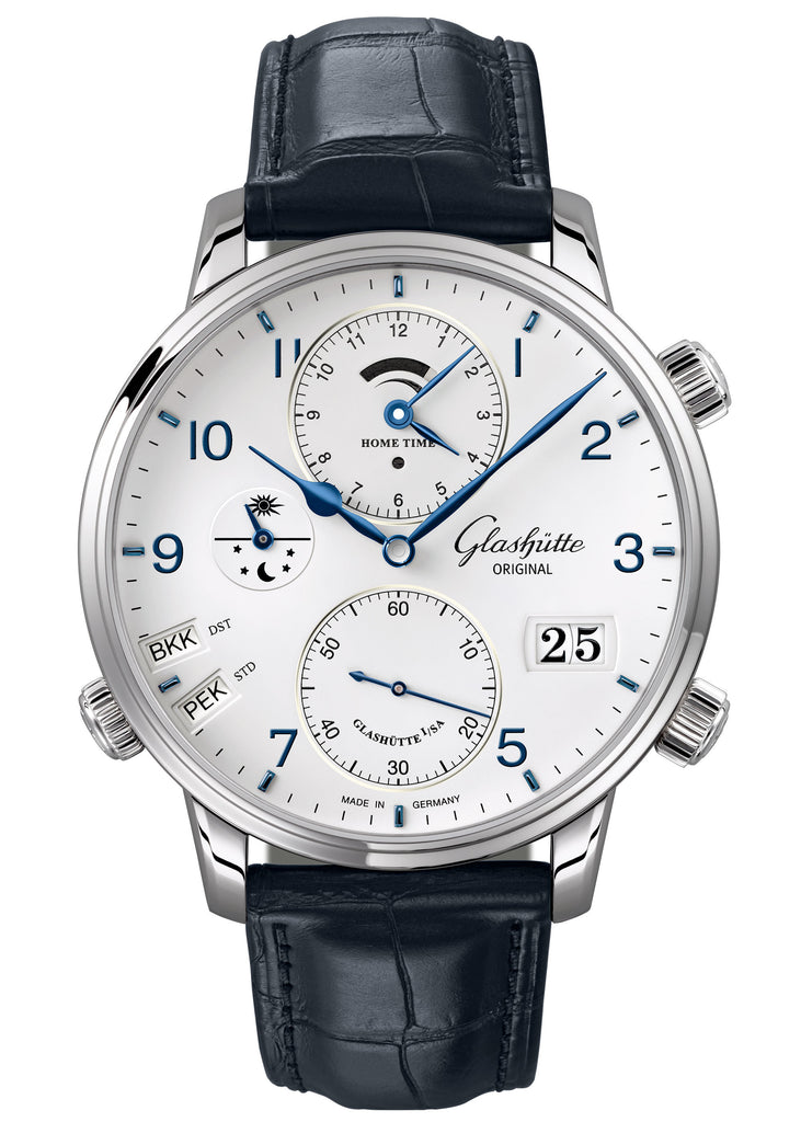 Glashütte Original Senator Cosmopolite - Stainless steel on Blue Alligator Strap  Glashütte Original