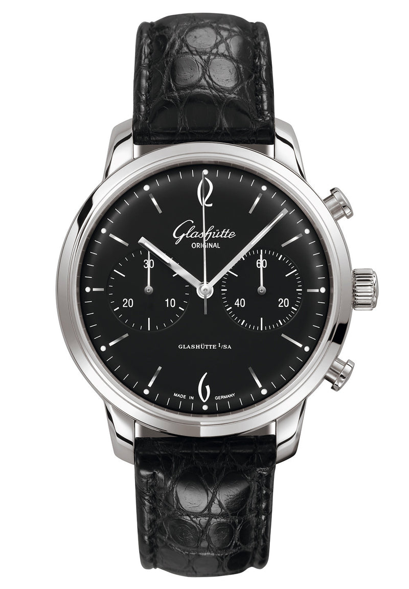 Glashütte Original Sixties Chronograph - Stainless Steel on Black Alligator Strap  Glashütte Original