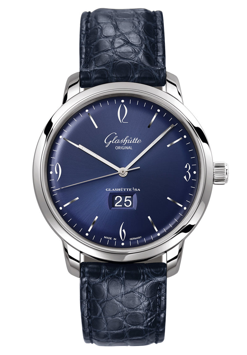 Glashütte Original Sixties Panorama Date - Stainless Steel on Blue Alligator Leather  Glashütte Original