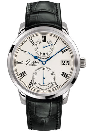 Glashütte Senator Chronometer - 18 Carat White Gold on Black Alligator Strap  Glashütte
