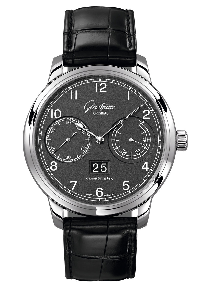 Glashütte Original Senator Observer- Stainless Steel on Black Alligator Strap  Glashütte Original