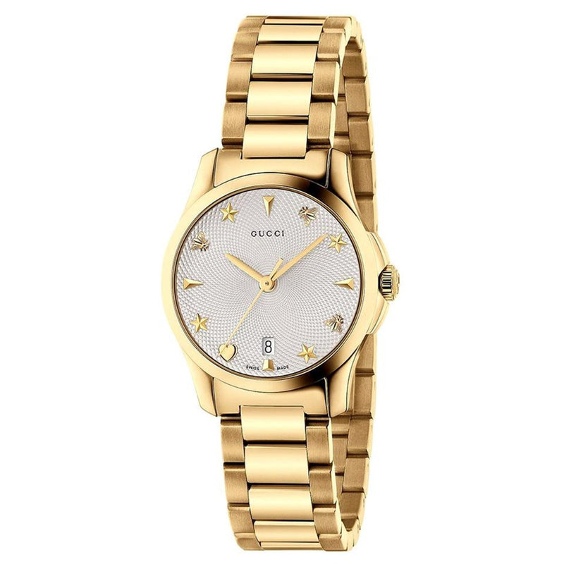 Gucci G-Timeless Silver Dial Gold PVD Ladies Watch Item No. YA126576A  Chong Hing Jewelers