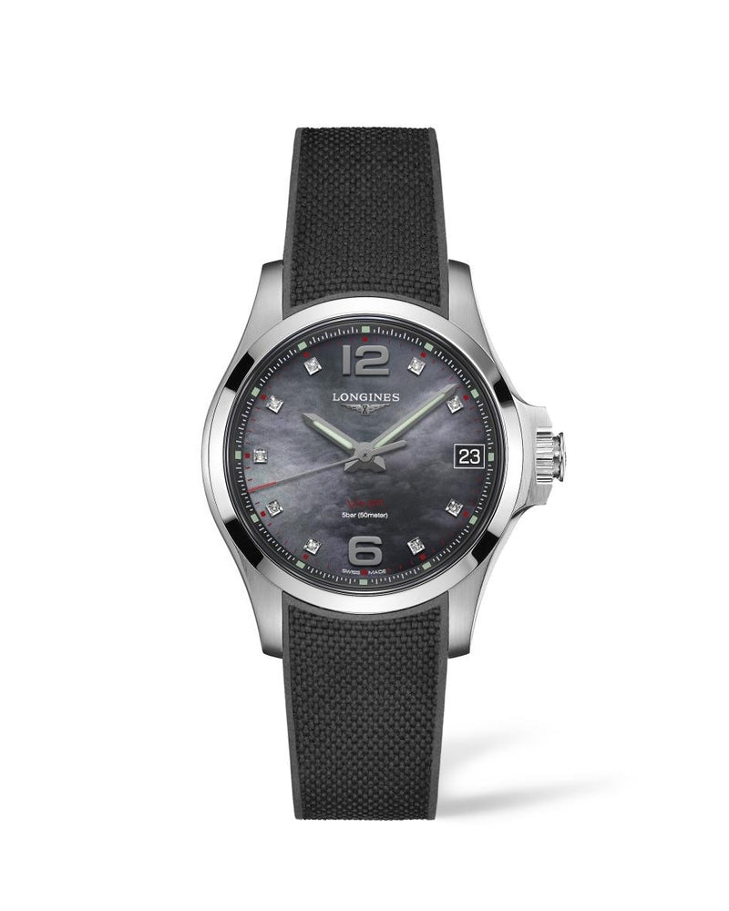 LONGINES Conquest V.H.P. 36mm Black Mother of Pearl Dial Rubber Strap  Longines