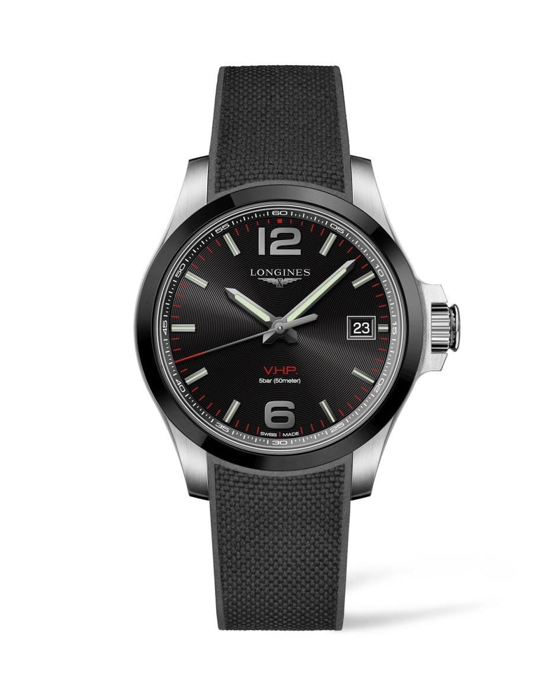 LONGINES Conquest V.H.P. 41mm Black Dial Rubber Strap  Longines