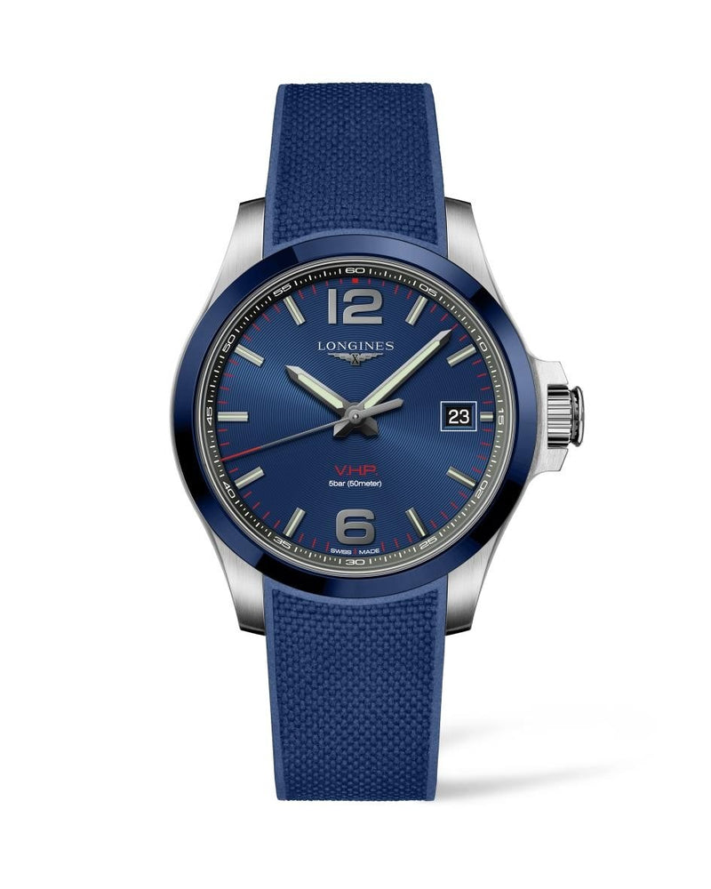 LONGINES Conquest V.H.P. 41mm Blue Dial Rubber Strap  Longines