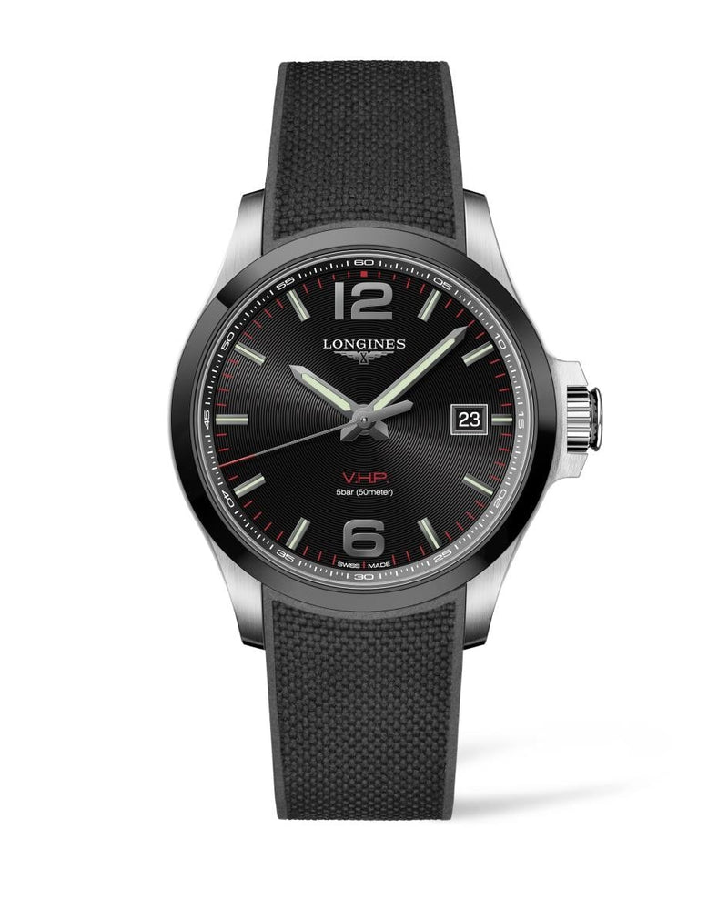 LONGINES Conquest V.H.P. 43mm Black Dial Rubber Strap  Longines