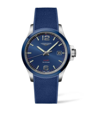 LONGINES Conquest V.H.P. 43mm Blue Dial Rubber Strap  Longines