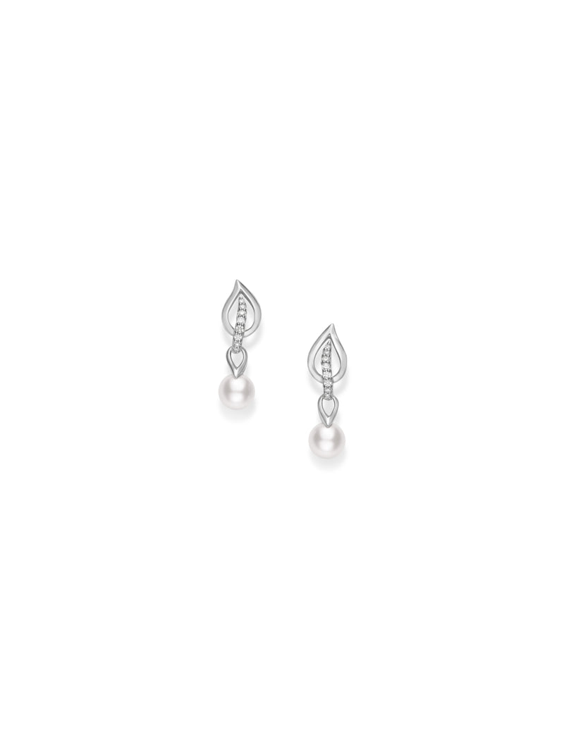 Mikimoto 18K White Gold Akoya Pearl Earrings  Mikimoto