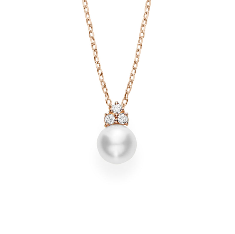 Mikimoto Akoya Cultured Pearl Pendant with Diamonds  Mikimoto