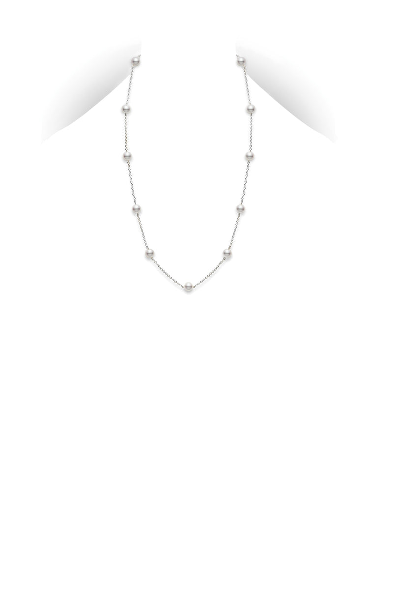 "Mikimoto 18"" Akoya Cultured Pearl Station Necklace  Mikimoto"