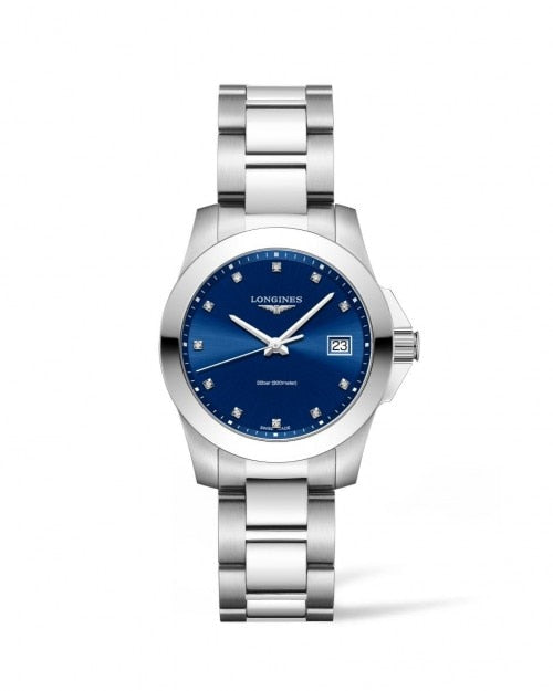 Longines Conquest 34mm Blue Dial Stainless Steel with Diamonds  Longines