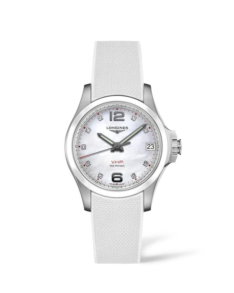 LONGINES Conquest V.H.P. 36mm Mother of Pearl Dial with Ceramic Bezel  Longines