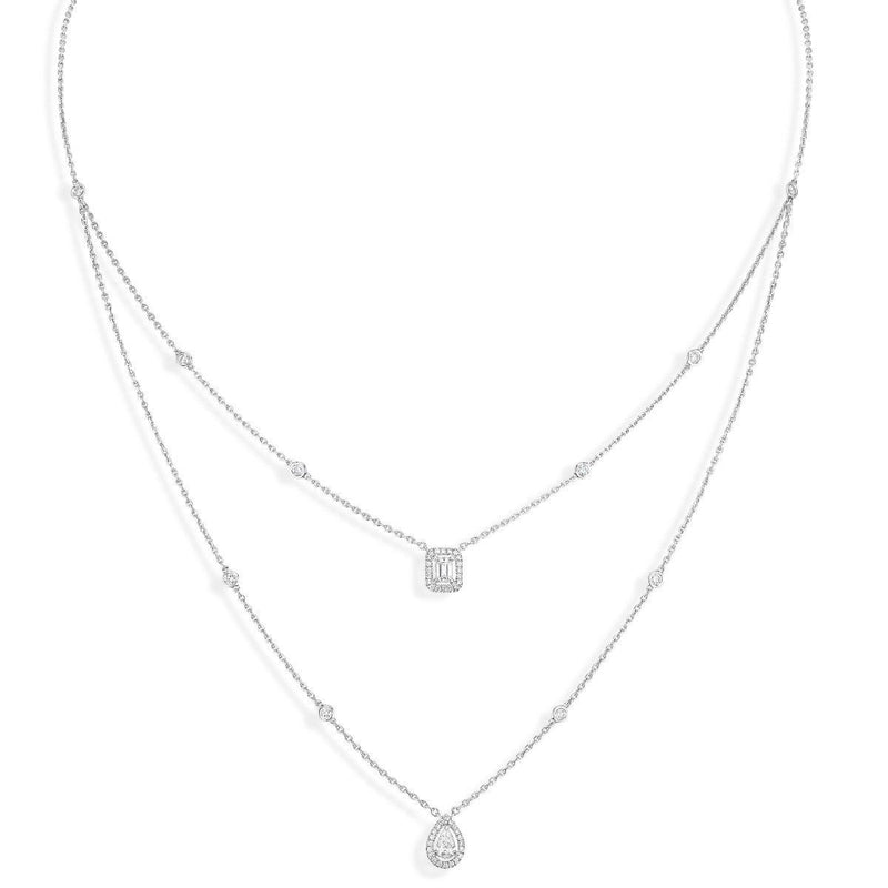 My Twin 2 Rows Necklace - White Gold  Chong Hing Jewelers