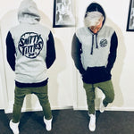 ST LOGO TALL HOOD: BLACK & GREY