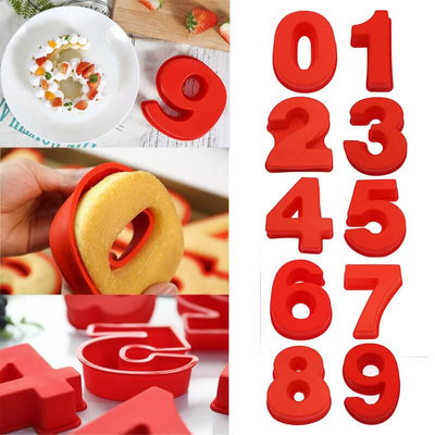 10 Inch 0-9 Silicone Cake Mold Numbers Shape Decoration Tool