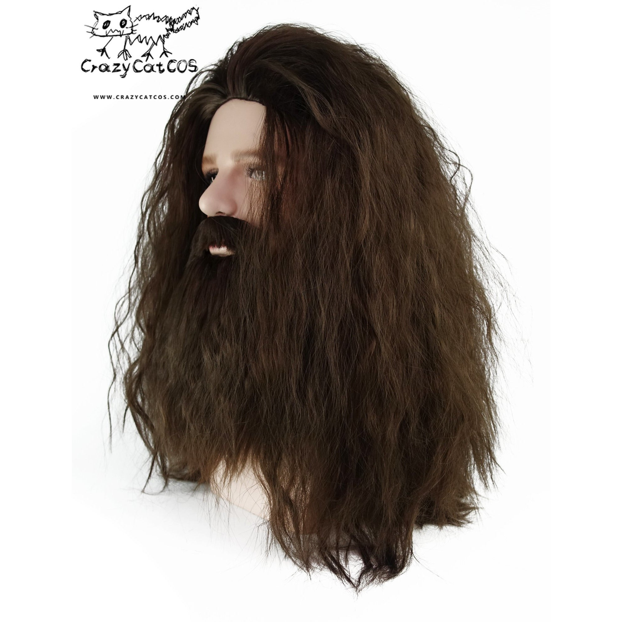 CrazyCatCos Rubeus Hagrid Cosplay Wig Long Curly Brown Hair and Beard Halloween Costume Wig