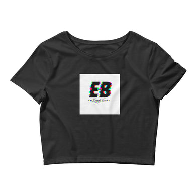 EB Glitched Crop Top - White