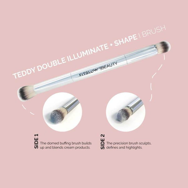 Fitglow Beauty | VEGAN TEDDY DOUBLE ILLUMINATE + SHAPE BRUSH | The Beauty Garden Boutique