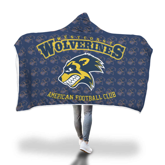 West Coast Wolverines Hooded Blanket