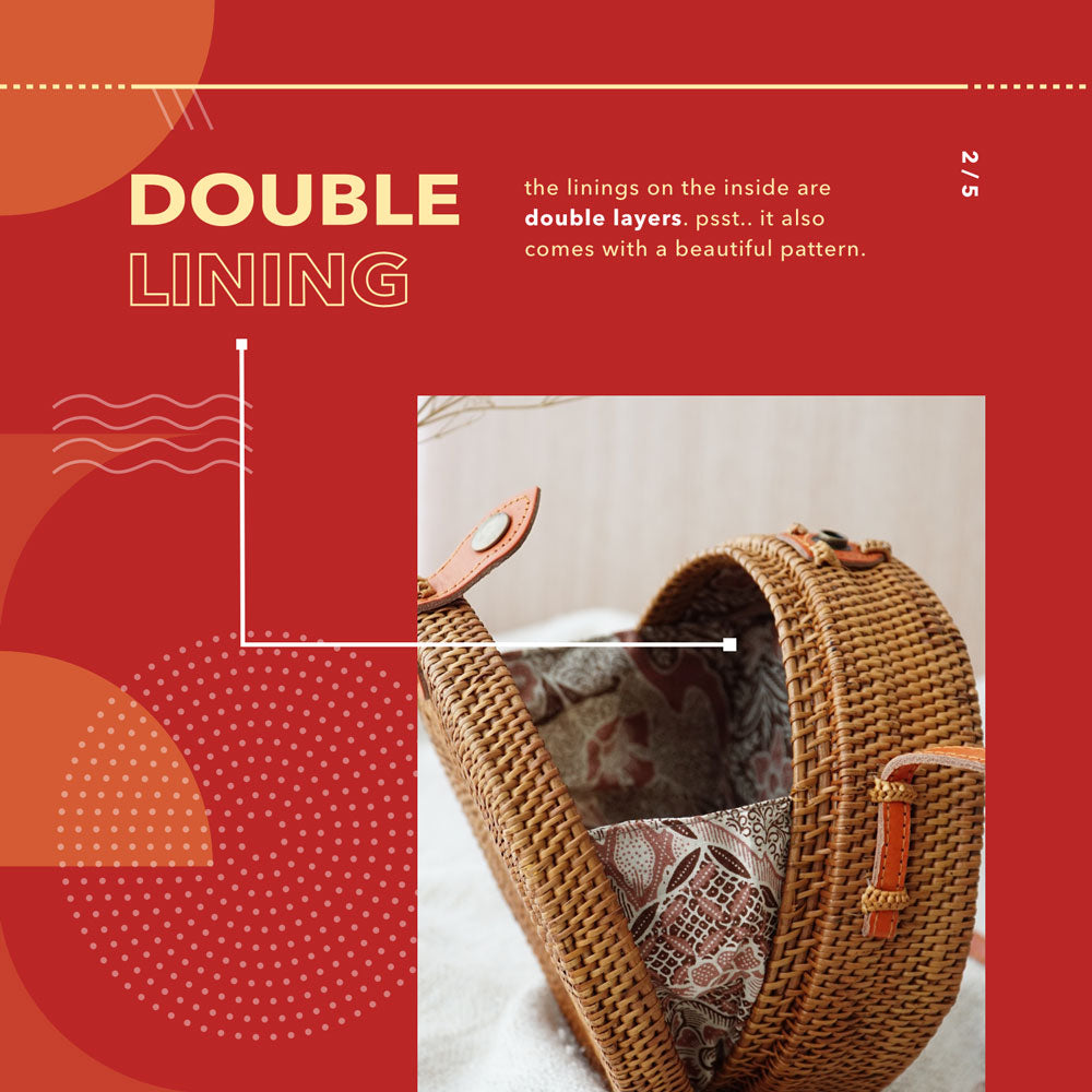 Double Lining Rattan Bag - Lokatan