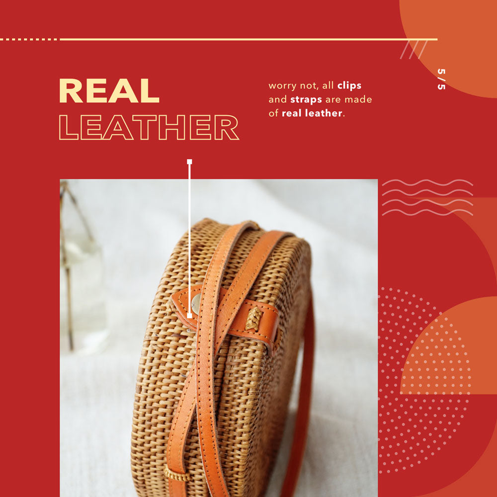 Real Leather Rattan Bag - Lokatan