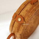 Vegan Round Brown Plain Bali Rattan Bag