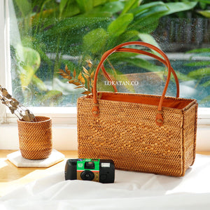 Batta Brown Bali Rattan Bag