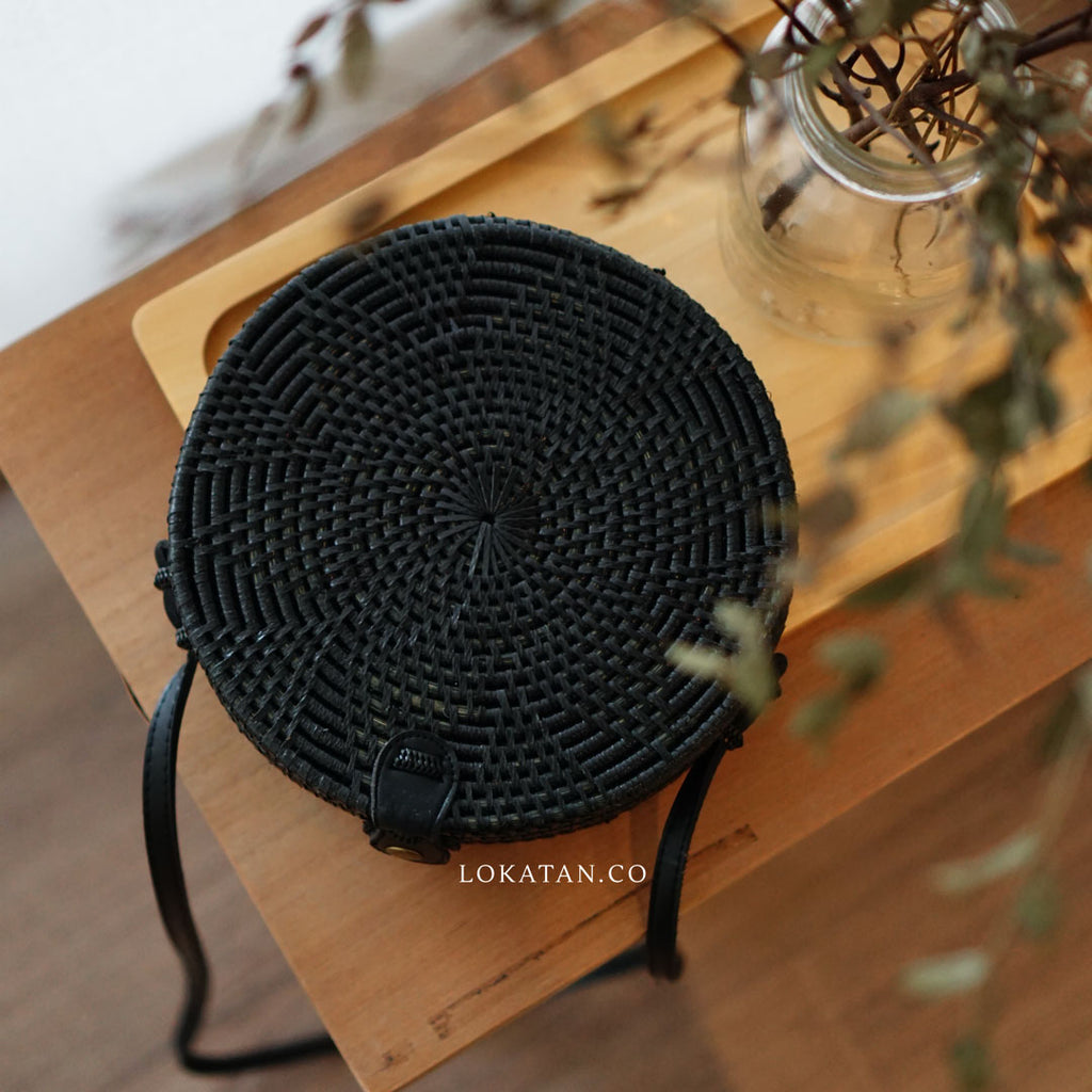Black Flower Bali Rattan Bag - Lokatan