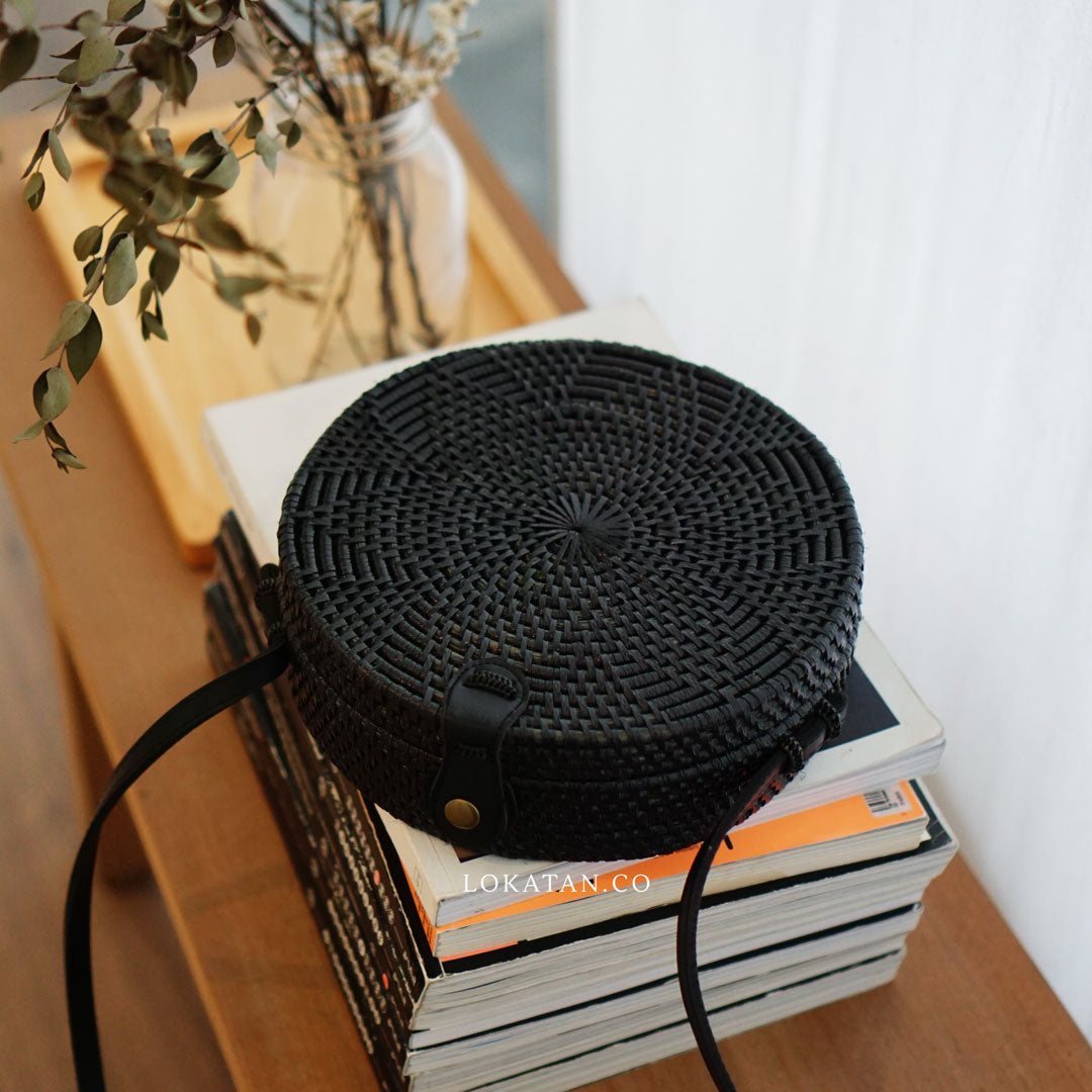 Black Flower Bali Rattan Bag