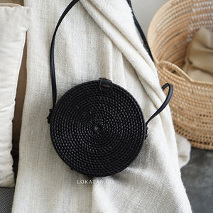 Plain Black Bali Rattan Bag - Lokatan