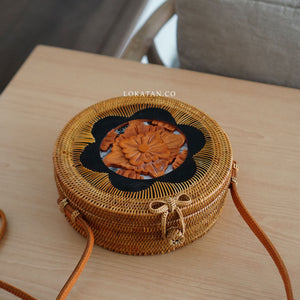 Brown Carved Bali Rattan Bag