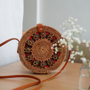 Brown Coco Handwoven Round Rattan Bag Bali