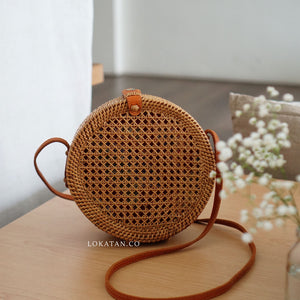 Brown Net Handwoven Round Rattan Bag Bali