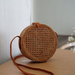 Brown Net Handwoven Round Rattan Bag Bali - Lokatan