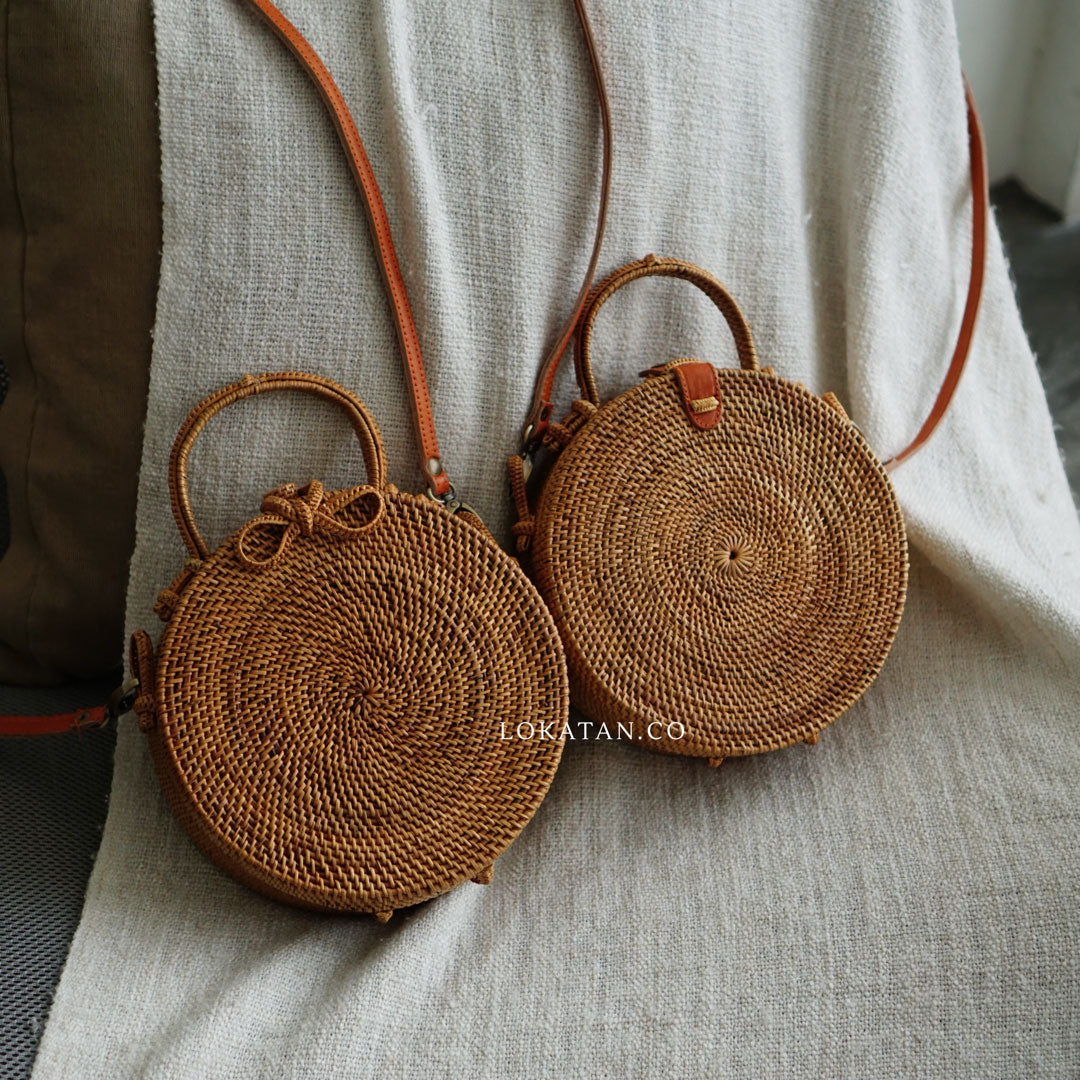 Brown Plain Bali Rattan Handbag with Detachable Strap