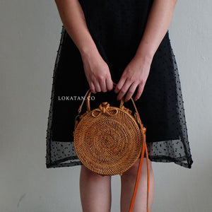 Brown Plain Bali Rattan Handbag with Detachable Strap - Lokatan