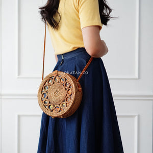 Brown Ring Bali Rattan Bag