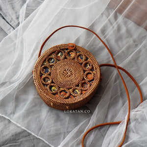 Brown Ring Bali Rattan Bag - Lokatan