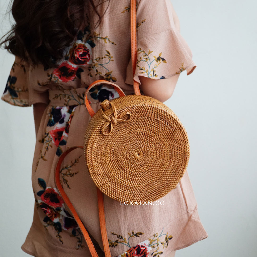 Brown Round Rattan Backpack Bali