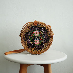Brown Shell Plated Round Rattan Bag Bali