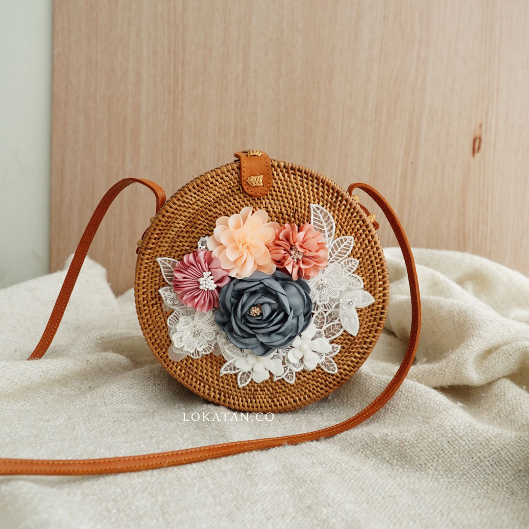 Brown Spring Blossom Round Rattan Bag Bali